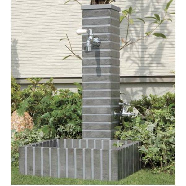 送料無料 立水栓フレウススタンドパンセットストーンブリック2口タイプ(蛇口なし)