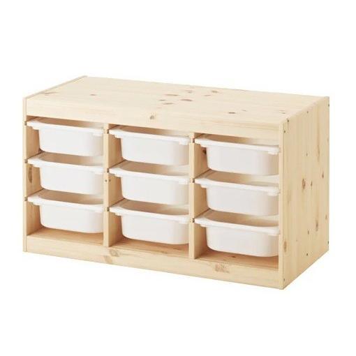 IKEA イケア 送料750円 TROFAST 収納コンビネーション, 収納コンビネーション, 収納コンビネーション, ライトホワイトステインパイン, ホワイト 子供 おもちゃ サイズ94x44x53cm 45c