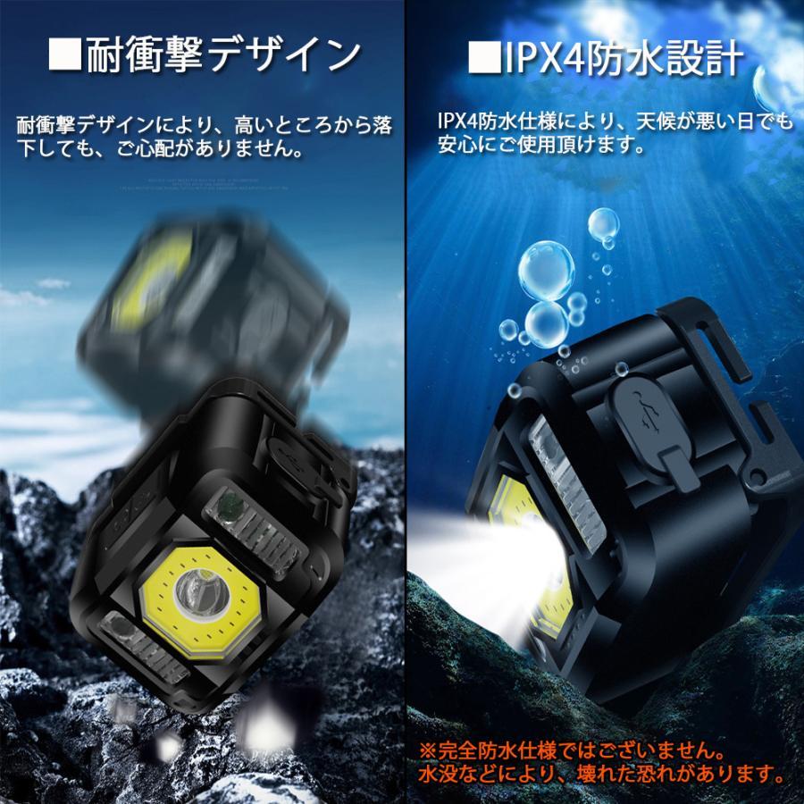 ヘッドライト 充電式 LED 充電池内蔵 センサーモード付 高輝度 6モード 広角 狭角 COB SOS 切替 角度調節可|lifeideas|10