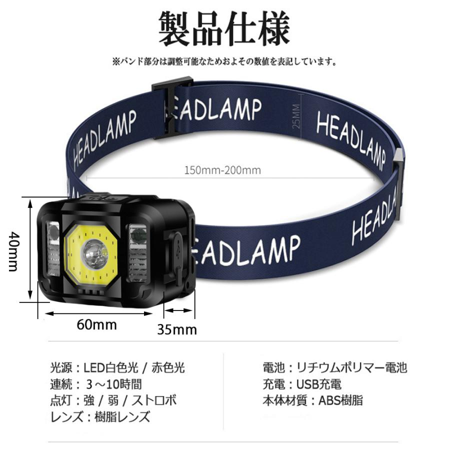 ヘッドライト 充電式 LED 充電池内蔵 センサーモード付 高輝度 6モード 広角 狭角 COB SOS 切替 角度調節可|lifeideas|06