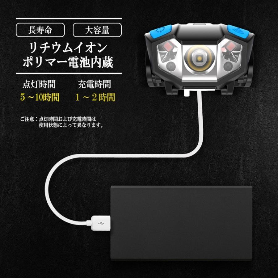 LEDヘッドライト 充電式 電池付属 ヘッドランプ 軽量 センサー機能付 5000ルーメン 5モード点灯 角度調節可 アウトドア キャンプ 防災 登山|lifeideas|08