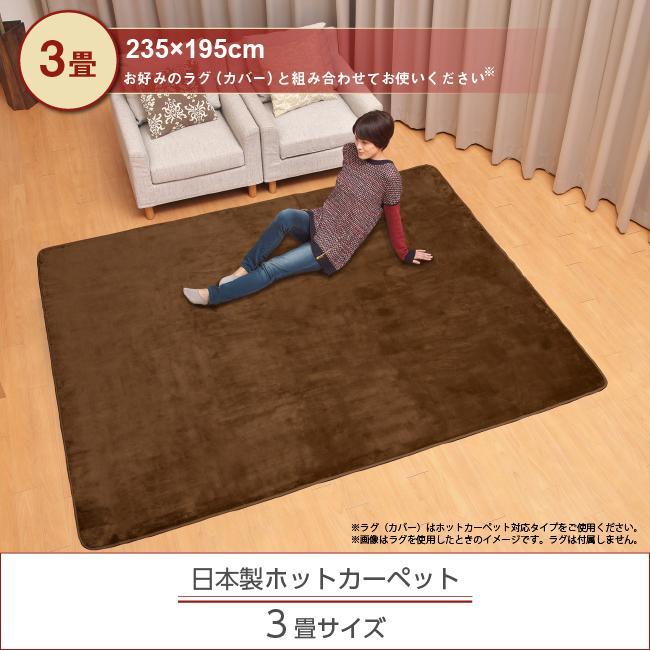 ライフジョイ ホットカーペット 3畳 日本製 235cm×195cm グレー コンパクト収納 省エネ 暖房面切換 8時間OFF機能付き スライド温度調節 JPU301H|lifejoy|02