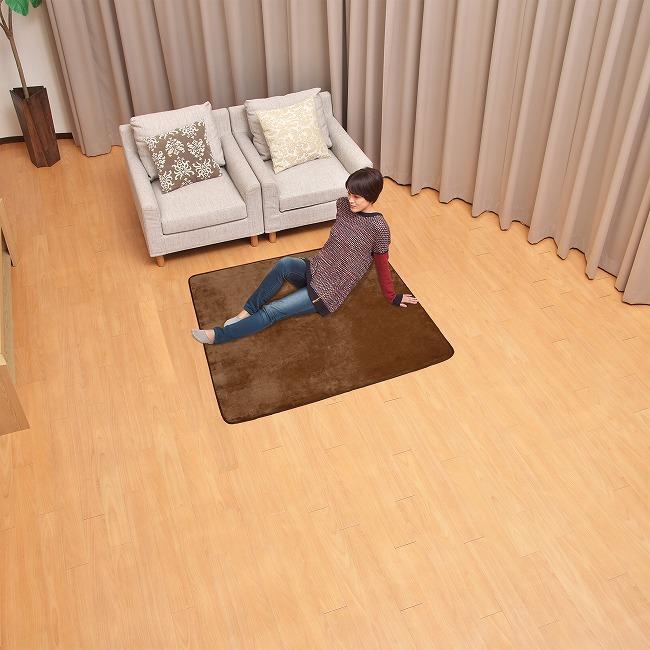 ライフジョイ ホットカーペット 専用 カバー 1畳 ラグ 正方形 130cm×130cm ブラウン CR11AT|lifejoy|02