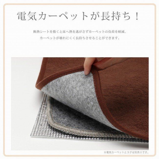 ライフジョイ 省エネ 断熱シート 2畳 ホットカーペット 専用 床用 180cm×180cm シルバー DM201 lifejoy 02