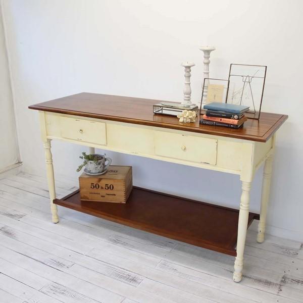 キッチンワークテーブル 収納 作業台 店舗什器 チーク 無垢 アンティーク ホワイト