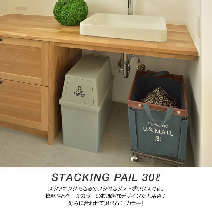 スタッキングペール 30L ダストボックス ごみ箱 清潔 シンプル ふた付き ゴミ分別 ゴミ箱 フタ付き キャスター付 小型 コンパクト 日本製 新生活 LFS-760 lily-birch 02