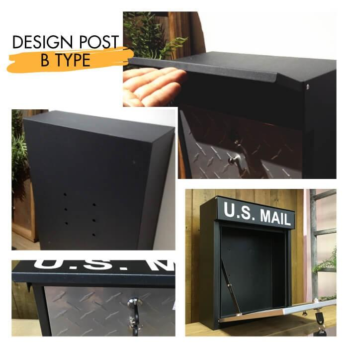 U.S.MAIL デザイン ポスト Bタイプ メールボックス 郵便ポスト 壁掛けポスト 玄関ポスト 鍵付き おしゃれ 男前 アメリカン インダストリアル PST-215B|lily-birch|03