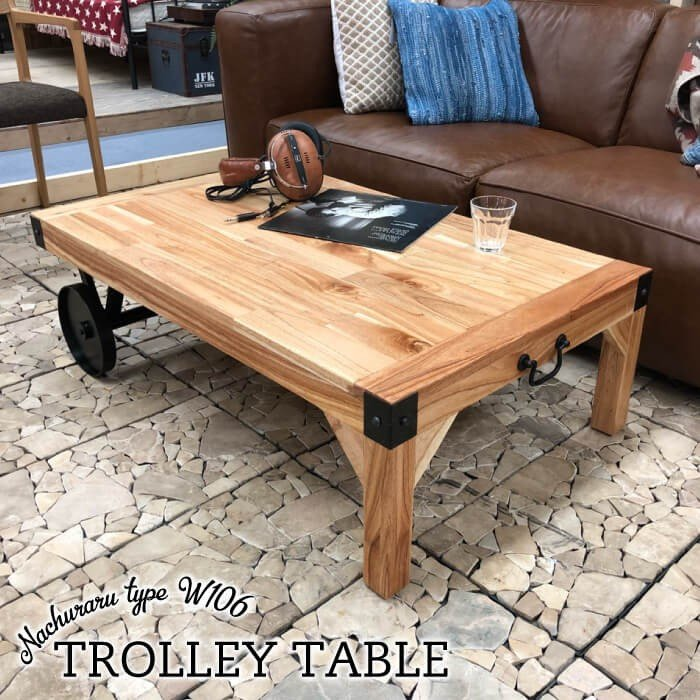 トロリーテーブルL 幅106cm ナチュラルタイプ センターテーブル カフェテーブル ローテーブル ヴィンテージ おしゃれ 西海岸 レトロ 男前 TTF-116 SGS-116NA|lily-birch