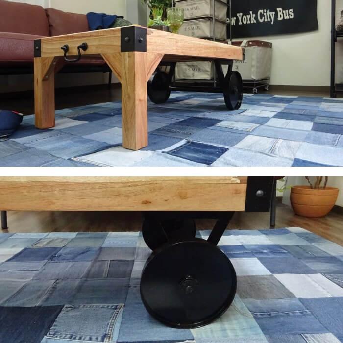 トロリーテーブルL 幅106cm ナチュラルタイプ センターテーブル カフェテーブル ローテーブル ヴィンテージ おしゃれ 西海岸 レトロ 男前 TTF-116 SGS-116NA|lily-birch|03