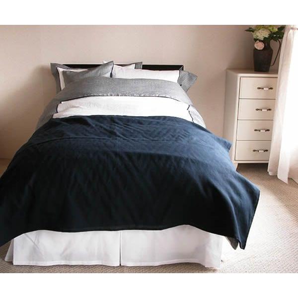 リネン ベッドスカート ワイドキングサイズ (195x195cm) ヘッドあり 3面 「ランドゥヨーコ」
