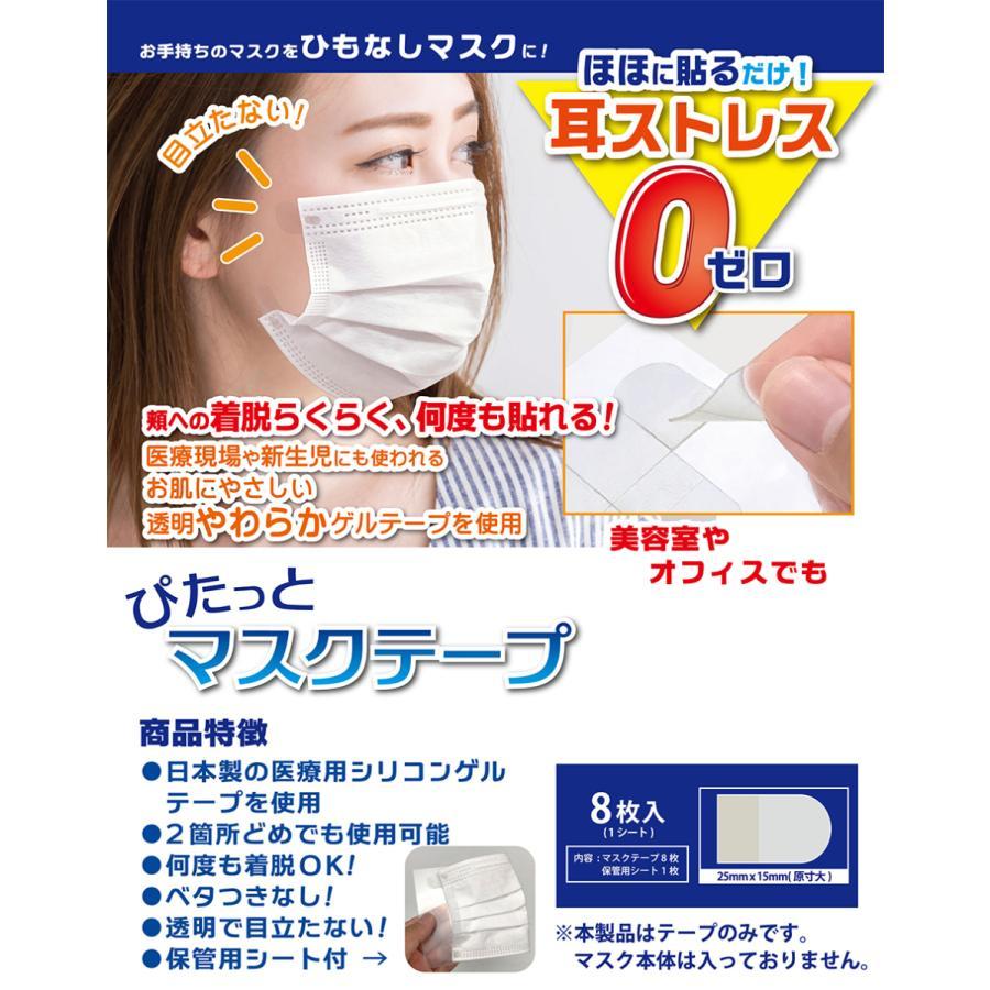 ぴたっとマスクテープ 8枚入り 耳が痛くない 紐なしマスク マスクテープ 医療用シリコンゲルテープ使用 ひもなしマスク 衛生管理品 linomakana 02