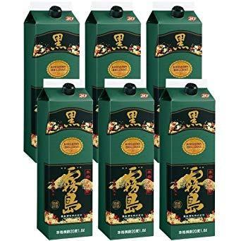 霧島 焼酎 黒霧島 20度 1.8L 1800ml ストアー 1ケース 霧島酒造 芋焼酎 公式通販 パック 6本