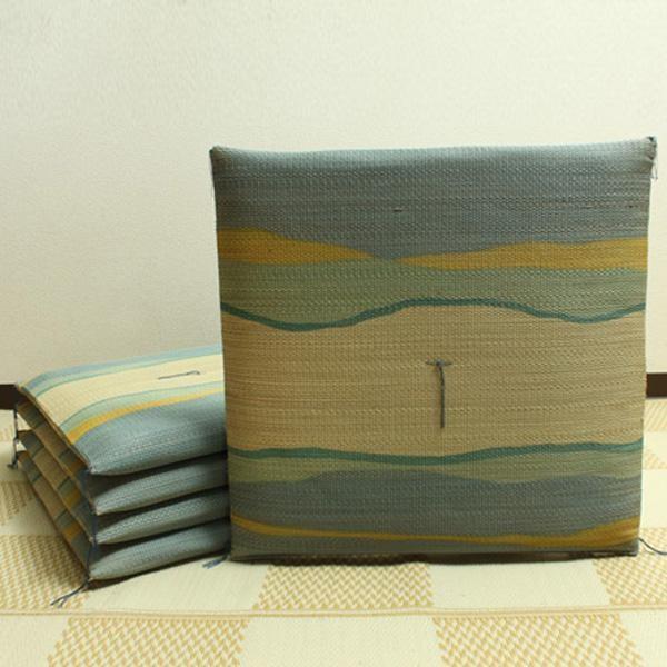 純国産 捺染返し い草座布団 『利休 5枚組』 ブルー 約55×55cm 3103900