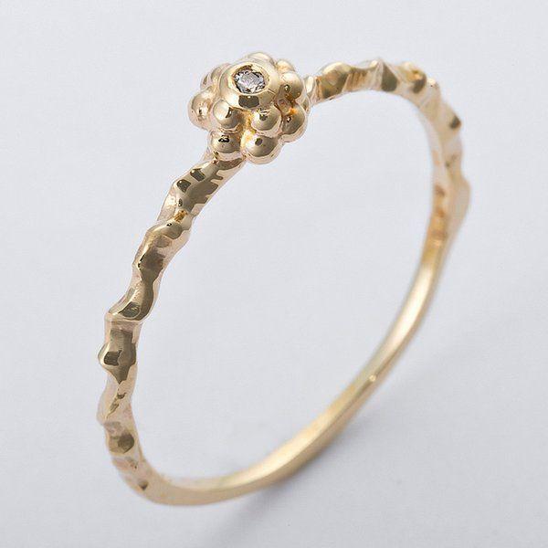 2019新作モデル K10イエローゴールド 天然ダイヤリング 指輪 ダイヤ0.01ct 12号 アンティーク調 フラワーモチーフ, 天然素材美容と健康のサンロマン f6e1d943