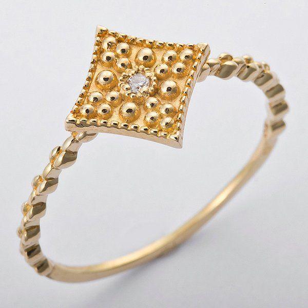 人気絶頂 K10イエローゴールド 天然ダイヤリング 指輪 ダイヤ0.01ct 12号 アンティーク調 スクエアモチーフ, 上月町:6a46c256 --- taxreliefcentral.com