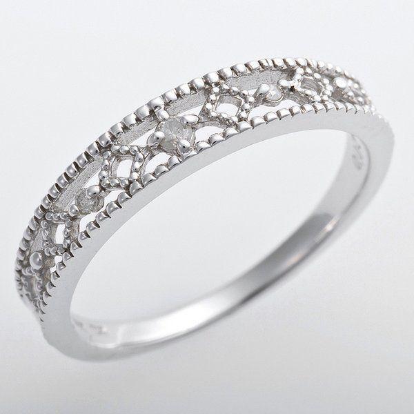【まとめ買い】 K10ホワイトゴールド 天然ダイヤリング 指輪 ピンキーリング ダイヤモンドリング 0.02ct 3号 アンティーク調 プリンセス, 【オープニングセール】 92d5c5d3