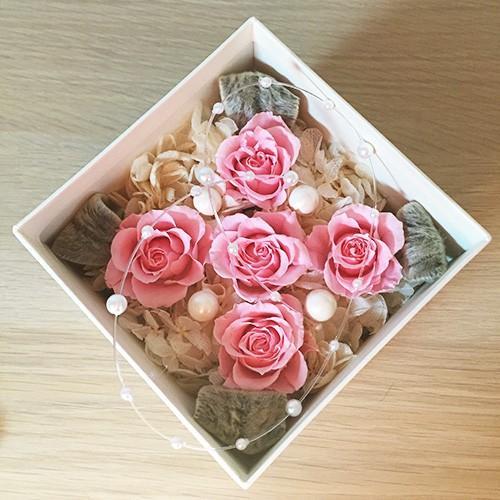 プリザーブドフラワー ボックス 誕生日 結婚祝い 花 ギフト プレゼント ピンク|littleangel|05