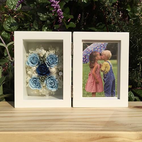 プリザーブドフラワー 写真立て フォトフレーム 結婚祝い 誕生日 花 ギフト プレゼント ブルー|littleangel