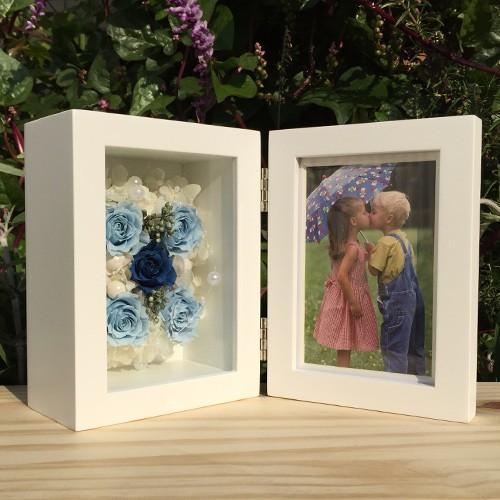 プリザーブドフラワー 写真立て フォトフレーム 結婚祝い 誕生日 花 ギフト プレゼント ブルー|littleangel|02