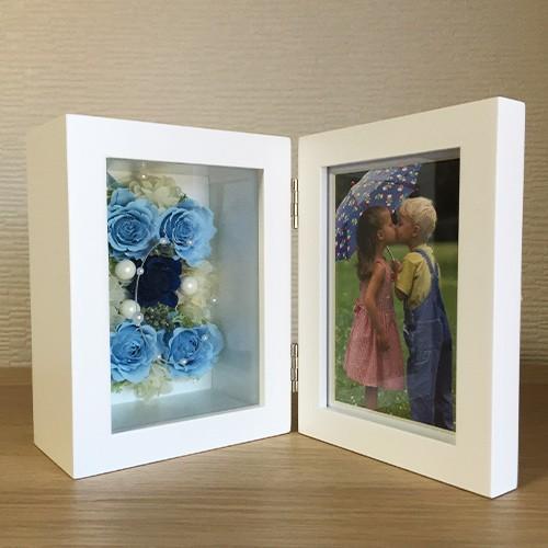 プリザーブドフラワー 写真立て フォトフレーム 結婚祝い 誕生日 花 ギフト プレゼント ブルー|littleangel|05