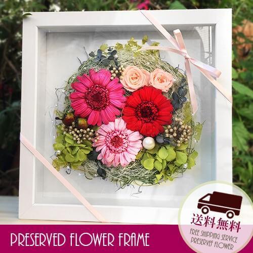 プリザーブドフラワー 壁掛け 誕生日 結婚祝い 花 ギフト プレゼント 額 木製 フレーム ガーベラ|littleangel