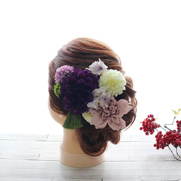 和スタイル紫のダリアの髪飾り 正月 成人式 和装 浴衣|littleangel