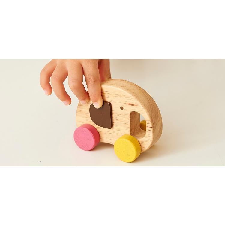 『Elephant Car』出産祝い 木のおもちゃ はじめてのおもちゃ 知育玩具 誕生日プレゼント 男の子 女の子 長く遊べる[a31310162]|littlegenius