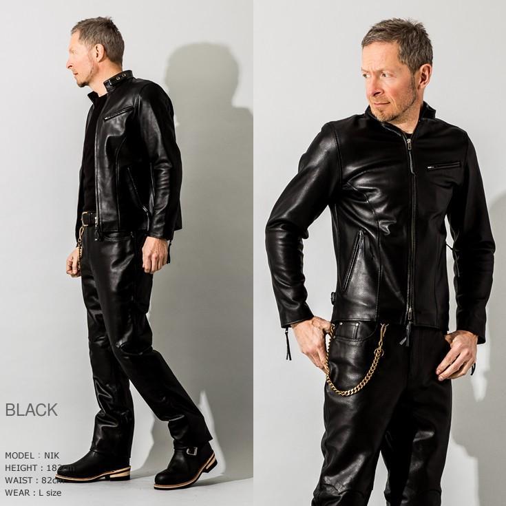 Liugoo Leathers 本革 メッシュレザー シングルライダースジャケット メンズ リューグーレザーズ SRS03B  シングルライダース ライダースジャケット 革ジャン 黒 liugoo 11