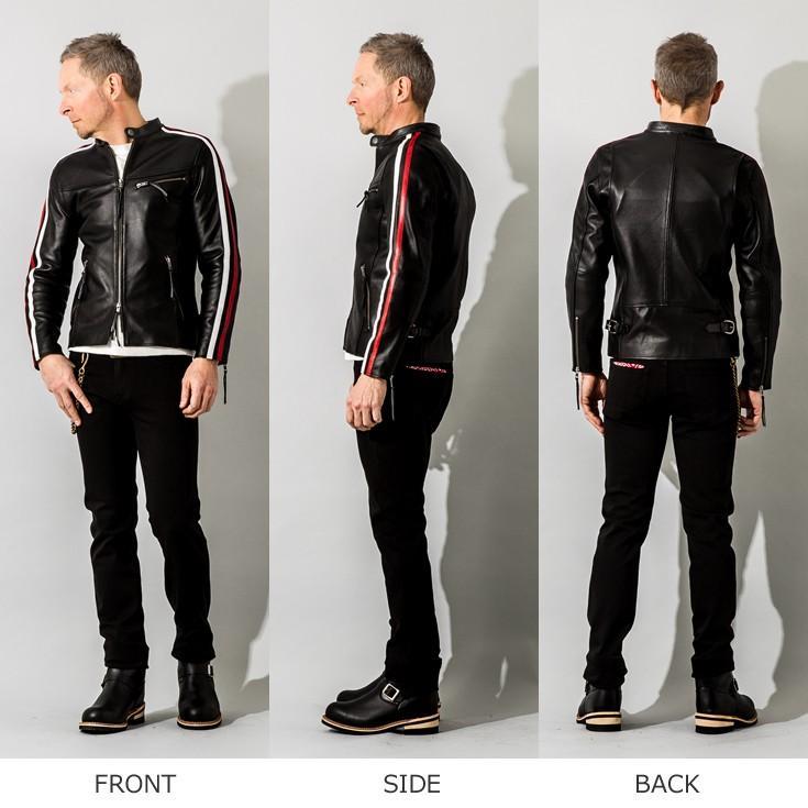 Liugoo Leathers 本革 メッシュレザー 2ラインシングルライダースジャケット メンズ リューグーレザーズ SRS04B  シングルライダース ライダースジャケット 黒|liugoo|19