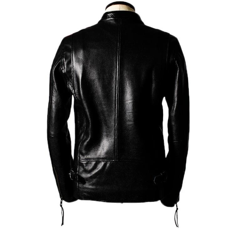 Liugoo Leathers 本革 メッシュレザー 2ラインシングルライダースジャケット メンズ リューグーレザーズ SRS04B  シングルライダース ライダースジャケット 黒|liugoo|17