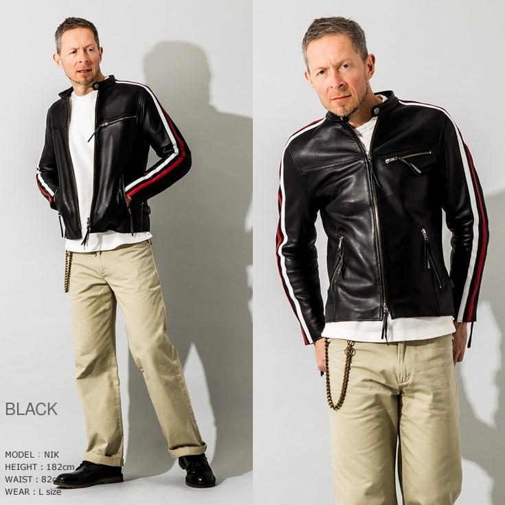Liugoo Leathers 本革 メッシュレザー 2ラインシングルライダースジャケット メンズ リューグーレザーズ SRS04B  シングルライダース ライダースジャケット 黒|liugoo|10