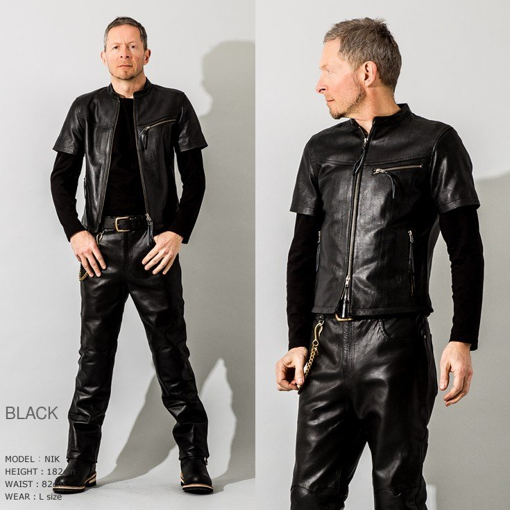 Liugoo Leathers 本革 メッシュレザーTシャツ メンズ リューグーレザーズ SSL02A  シングルライダース ライダースジャケット レザージャケット 革ジャン 黒 liugoo 11