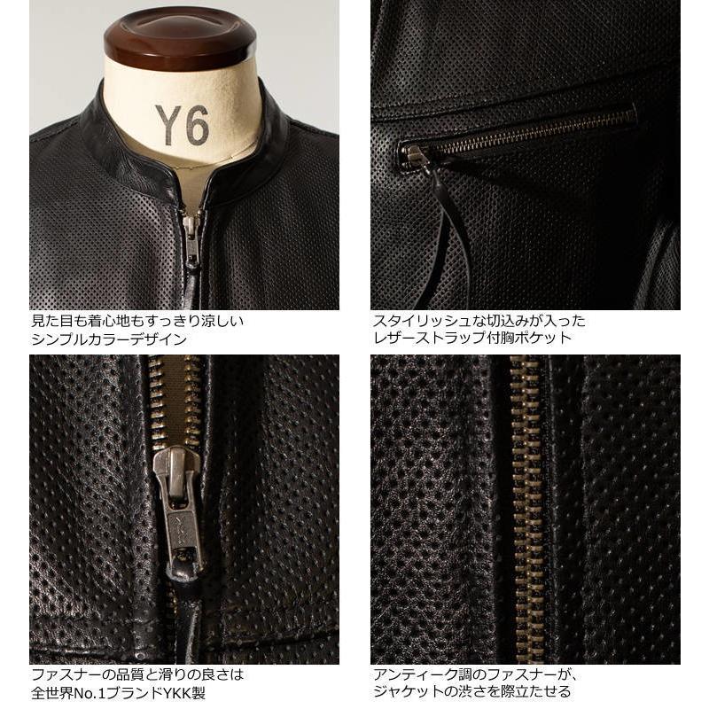 Liugoo Leathers 本革 メッシュレザーTシャツ メンズ リューグーレザーズ SSL02A  シングルライダース ライダースジャケット レザージャケット 革ジャン 黒 liugoo 12
