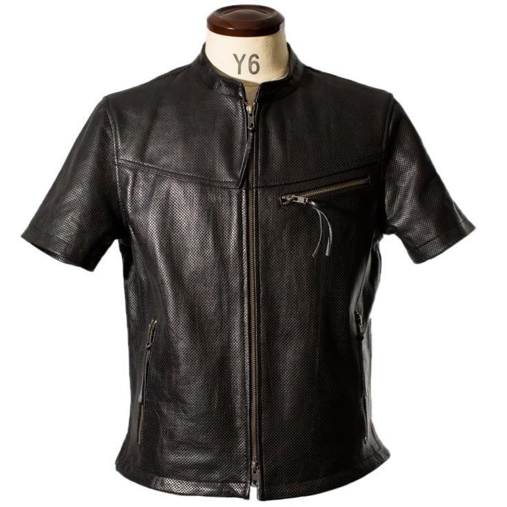 Liugoo Leathers 本革 メッシュレザーTシャツ メンズ リューグーレザーズ SSL02A  シングルライダース ライダースジャケット レザージャケット 革ジャン 黒 liugoo 14