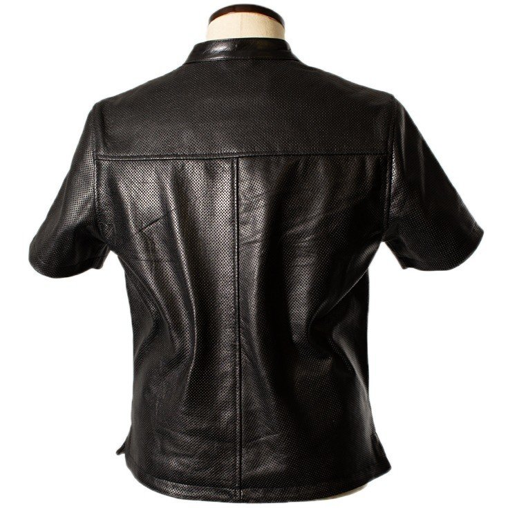 Liugoo Leathers 本革 メッシュレザーTシャツ メンズ リューグーレザーズ SSL02A  シングルライダース ライダースジャケット レザージャケット 革ジャン 黒 liugoo 15