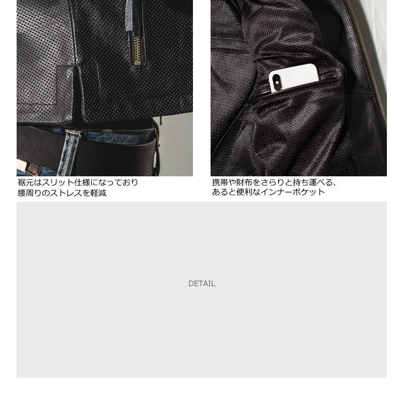 Liugoo Leathers 本革 メッシュレザーTシャツ メンズ リューグーレザーズ SSL02A  シングルライダース ライダースジャケット レザージャケット 革ジャン 黒|liugoo|13