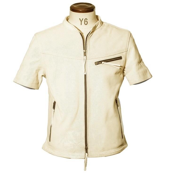 Liugoo Leathers 本革 メッシュレザーTシャツ メンズ リューグーレザーズ SSL02A  シングルライダース ライダースジャケット レザージャケット 革ジャン 黒|liugoo|14