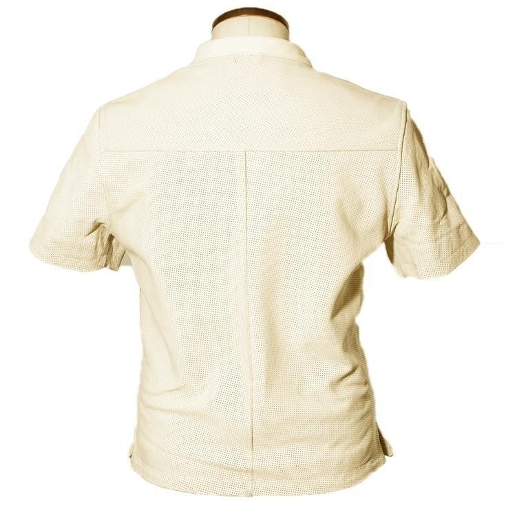 Liugoo Leathers 本革 メッシュレザーTシャツ メンズ リューグーレザーズ SSL02A  シングルライダース ライダースジャケット レザージャケット 革ジャン 黒|liugoo|15
