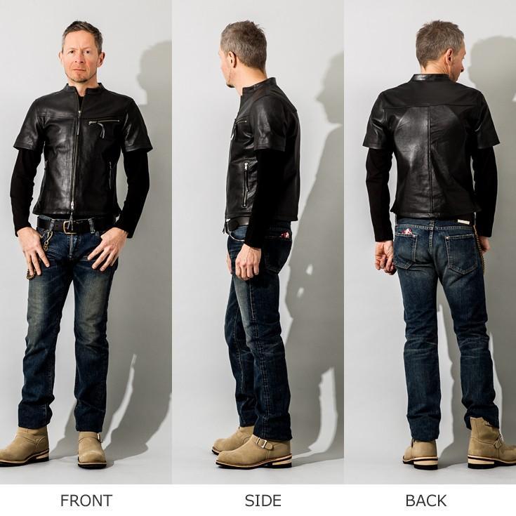 Liugoo Leathers 本革 メッシュレザーTシャツ メンズ リューグーレザーズ SSL02A  シングルライダース ライダースジャケット レザージャケット 革ジャン 黒|liugoo|17