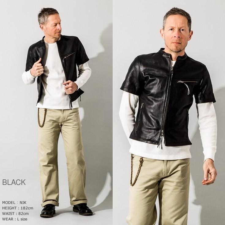 Liugoo Leathers 本革 メッシュレザーTシャツ メンズ リューグーレザーズ SSL02A  シングルライダース ライダースジャケット レザージャケット 革ジャン 黒|liugoo|10