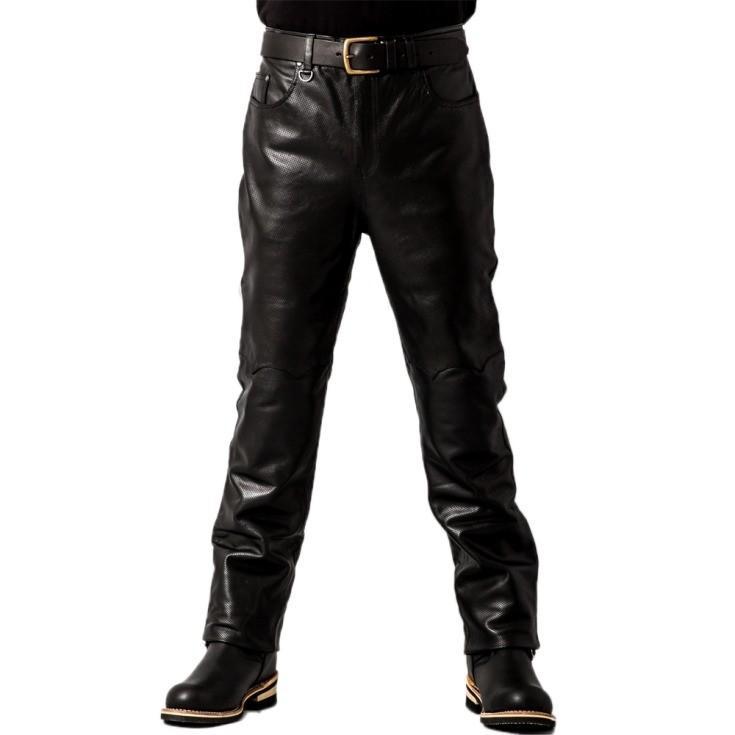 Liugoo Leathers 本革 メッシュレザーパンツ レギュラーフィット メンズ リューグーレザーズ STP04B  レザーパンツ 本革パンツ 本皮パンツ ライダースパンツ 黒|liugoo|15