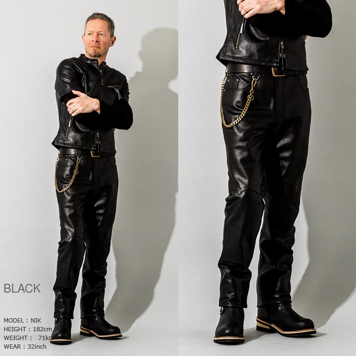 Liugoo Leathers 本革 メッシュレザーパンツ レギュラーフィット メンズ リューグーレザーズ STP04B  レザーパンツ 本革パンツ 本皮パンツ ライダースパンツ 黒 liugoo 09