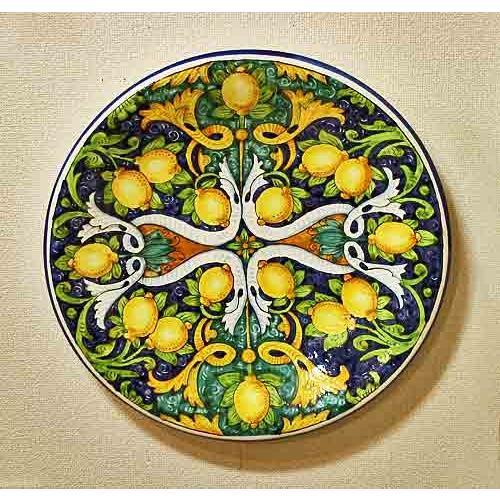 イタリア製 輸入雑貨 輸入雑貨 名工房の逸品 美しいレモン柄の大きな絵皿 Ima社 送料無料