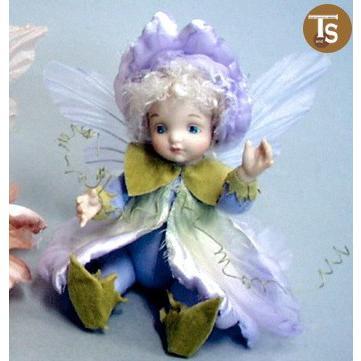 若月まり子作品 リトル・エルフィン スイートピー(ライト・パープル)創作人形(ビスクドール)出産祝いギフト c-008-3