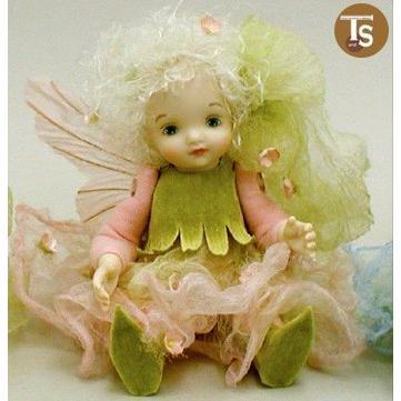 若月まり子作品 リトル・エルフィン かすみ草(ピンク)創作人形(ビスクドール)出産祝いギフト c-012-2