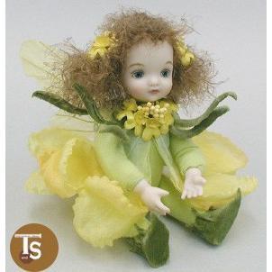 若月まり子作品 リトル・エルフィン キャンディタフト(イエロー)創作人形(ビスクドール)出産祝いギフト c-025-4