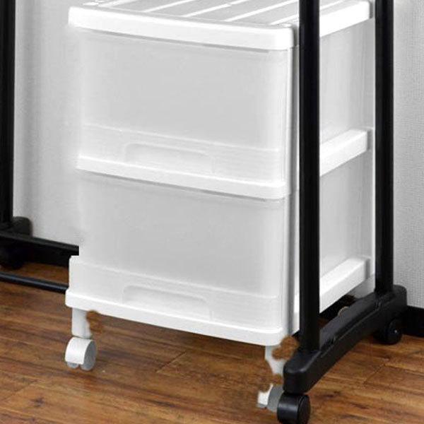 収納ケース ハンガーイン収納ケース 2段 引き出し キャスター付き ホワイト 収納ボックス パイプハンガー 収納 プラスチック 売れ筋 対応 正規店