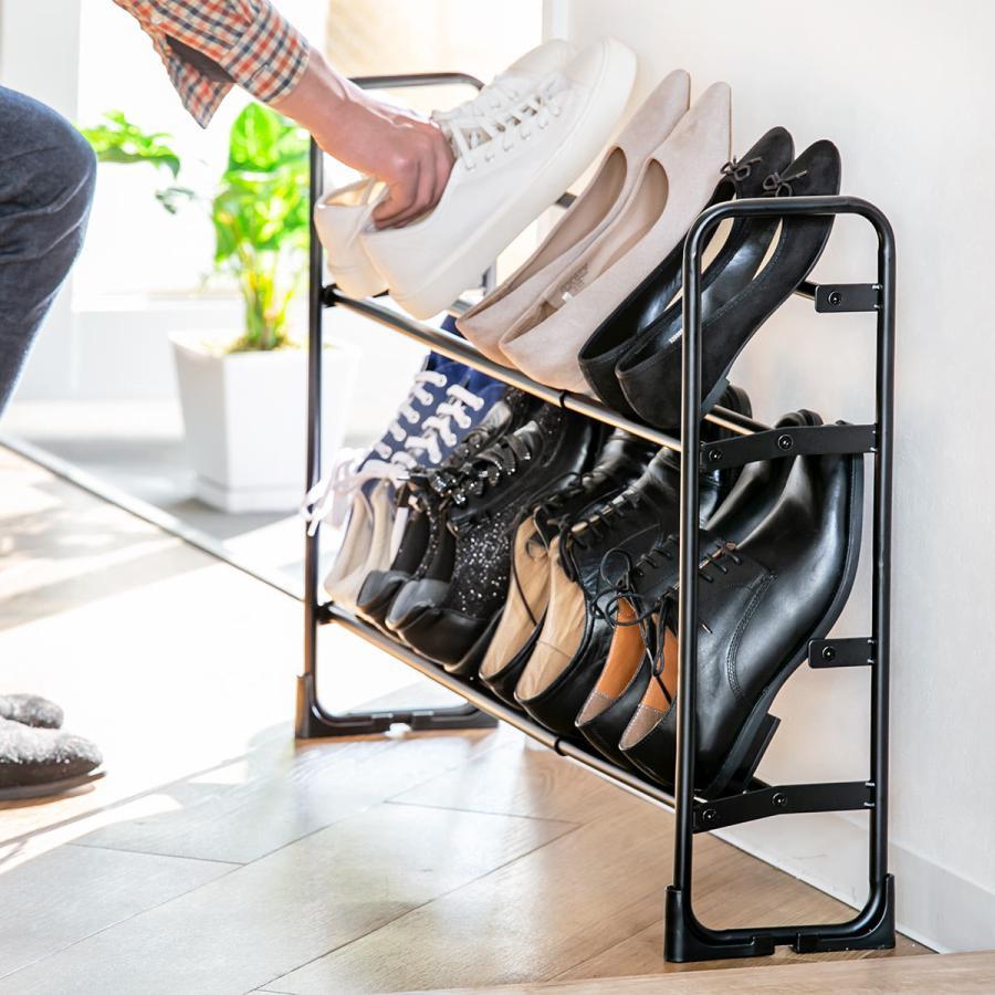 シューズラック 新品未使用 美style 最安値に挑戦 伸縮式シューズラック2段 シューズボックス 靴入れ 玄関収納 靴箱