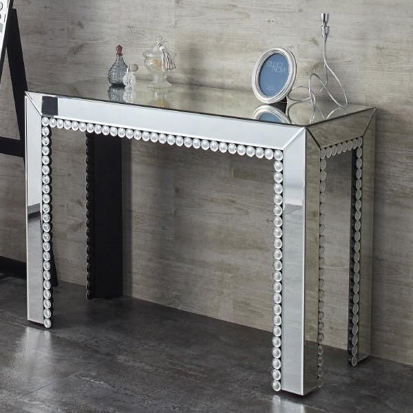 デスク コスメテーブル ミラー仕上げ 幅101cm ( 化粧 収納 ミラー付 テーブル )