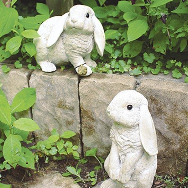 ガーデンオーナメント 割引 ウサギ 2個セット ラビット 置物 オブジェ 別倉庫からの配送 ガーデニング 庭 飾り オーナメント